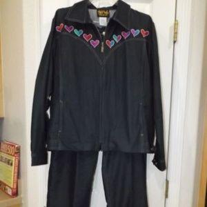 Bob Mackie Soft Denim Suit Hearts XL